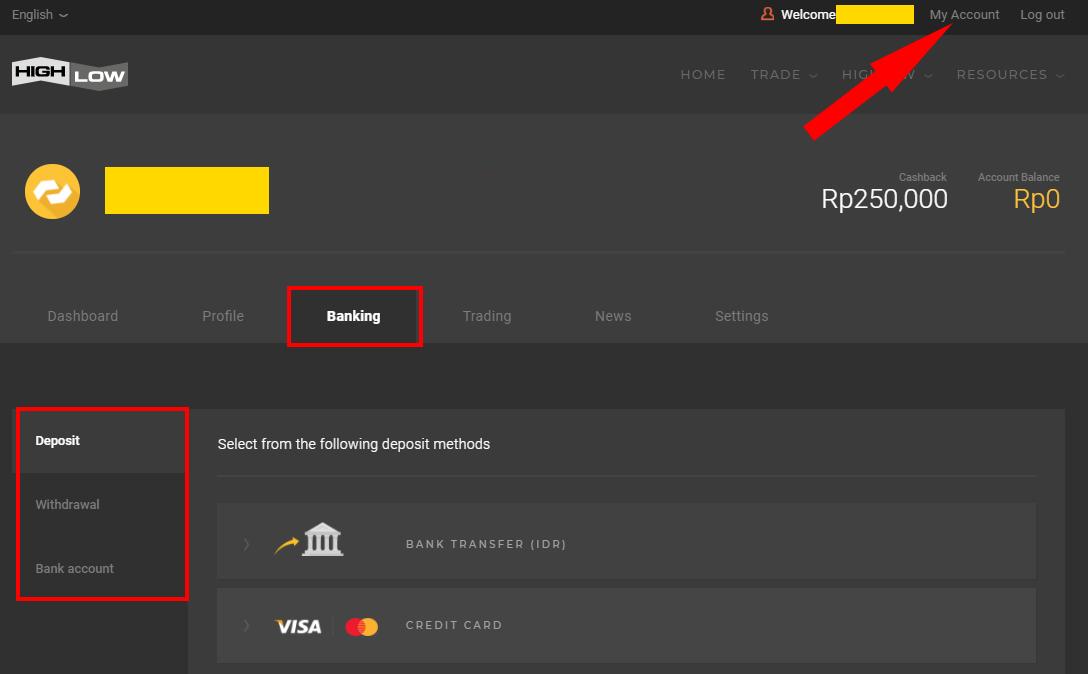 Deposit melalui Bank Lokal dan Kartu Kredit