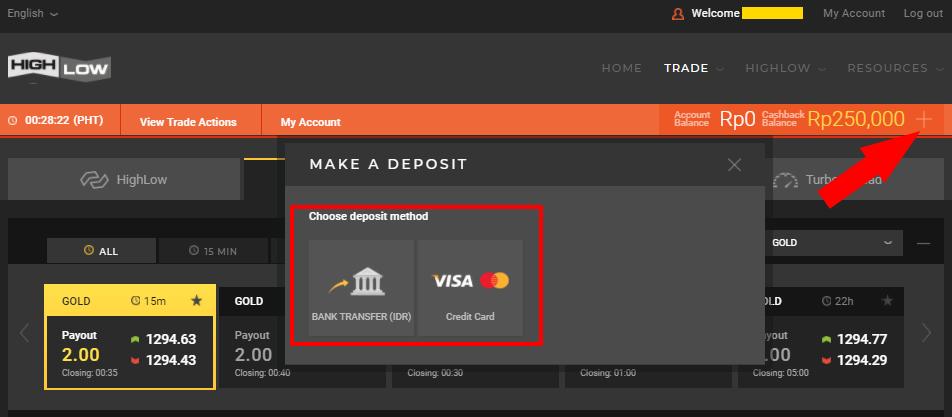 Pilih Deposit Transfer Bank Lokal