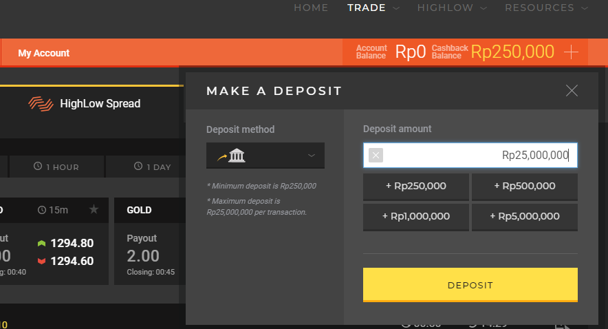 Binary options minimum investment $1