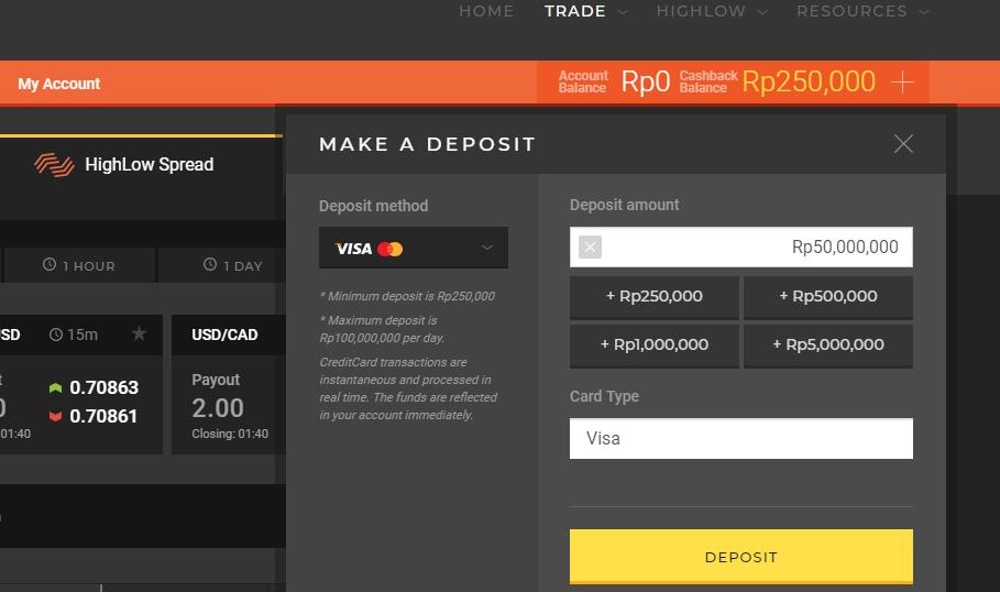 Deposit melalui kartu Visa atau Mastercard