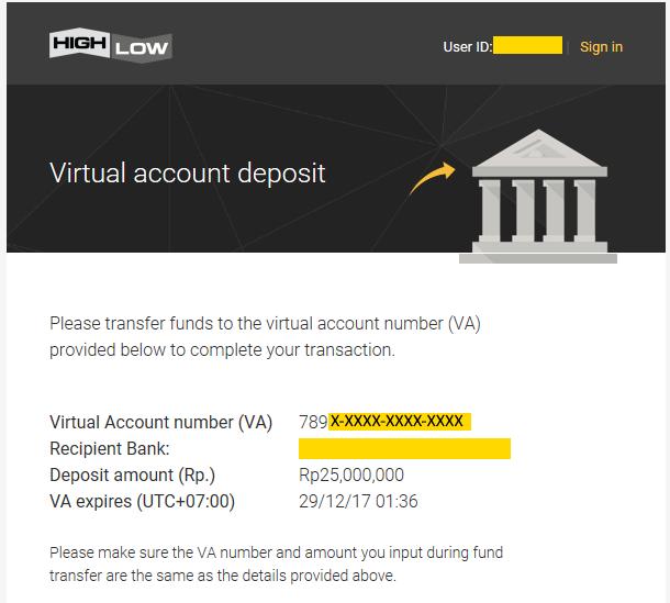 Menerima konfirmasi nomor VA melalui email