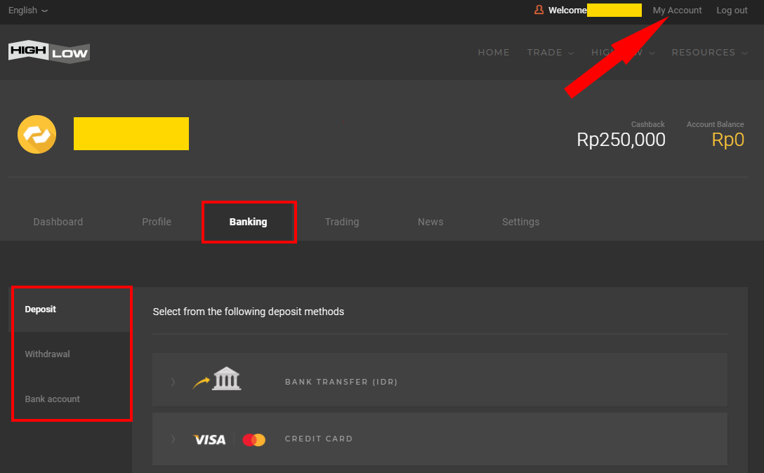 Trader Dashboard Banking